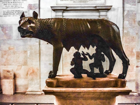 ROME, ITALY, DECEMBER - 2017 - Famous roman mythologic she-wolf sculpture at capitoline museum, Rome, Italy Editorial