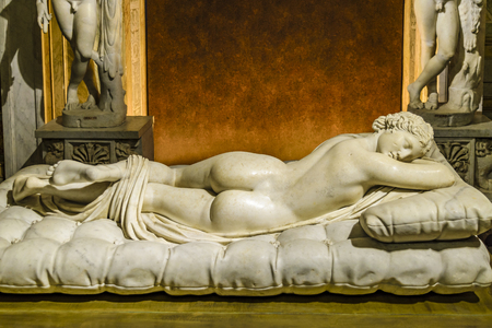 ROME, ITALY, JANUARY - 2018 - Famous greek roma copy hermaphrodite sculpture located at Villa Borghese gallery, Rome, Italy