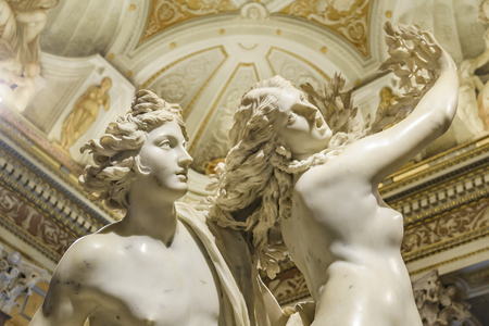ROME, ITALY, JANUARY - 2018 - Apollo and daphne, a famous baroque bernini masterpiece located at Villa Borghese gallery, Rome, Italy Editorial