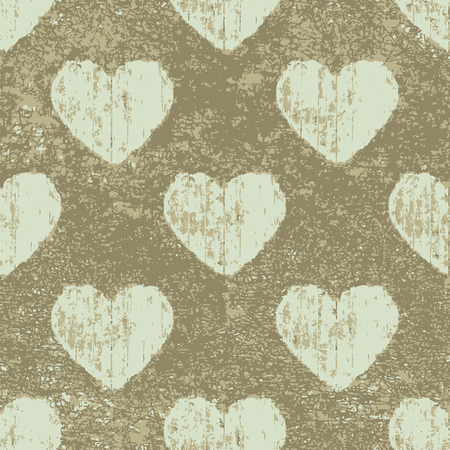 Conversational grunge style hearts motif seamless pattern design in white and brown colors