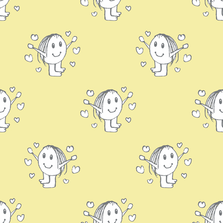 Conversational kids motif seamless pattern design in pastel yellow and black and white colors Illustration