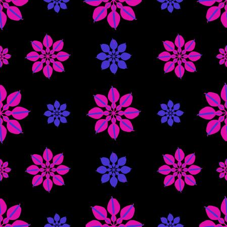Digital art technique elegant nature stylized floral motif seamless pattern design in dark mixed tones