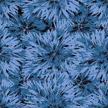 Digital photo collage technique intricate tropical style floral leaves motif seamless pattern design in vivid indigo and turquoise tones against black background Ilustração