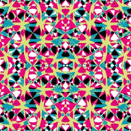 Digital art collage technique abstract geometric seamless pattern design in vivid multicolored tones. 矢量图像