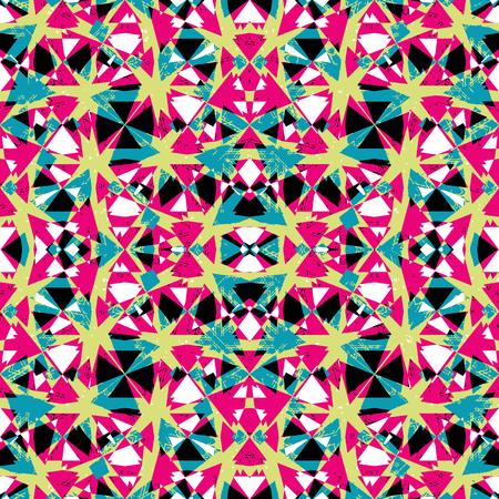 Digital art collage technique abstract geometric seamless pattern design in vivid multicolored tones. Illustration