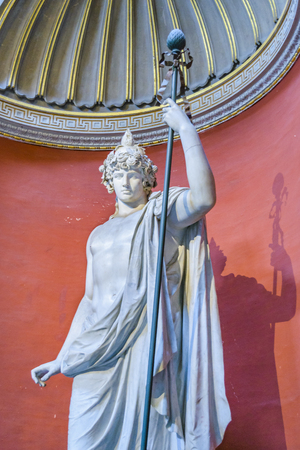 ROME, ITALY, JANUARY - 2018 - Low angle shot of gree statue at clementino pio gallery at vatican museum