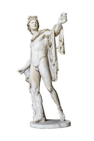 Perspective view of famous roman greek copy of apolo di belvedere sculpture isolated on white background