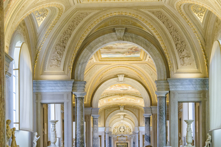 ROME, ITALY, JANUARY - 2018 - Interior view of one of the halls at vatican museum