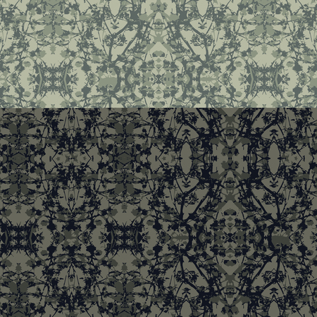 Digital art collage and photo manipulation technique modern floral noveau motif seamless pattern design in mixed green colors