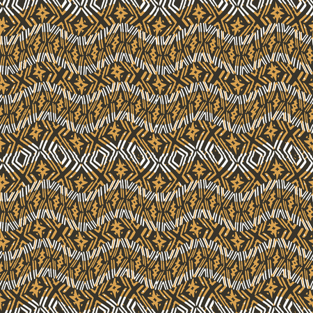 Digital art technique wavy stripes geometric seamless pattern design in orange colors