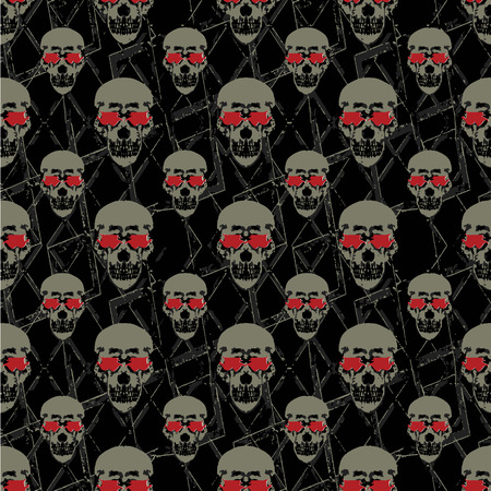 Skulls motif seamless graphic pattern design against black background.
