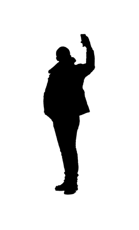 Silhouette graphic illustration adult person taking a selfie over white background