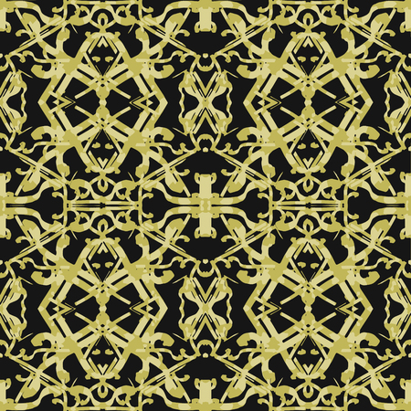 Digital collage technique ornate seamless pattern design in golden and black colors Ilustração