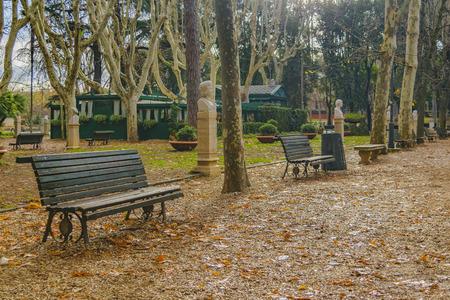Winter season scene at Villa Borghese park in Rome city, Italy