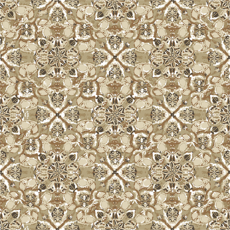 Digital collage technique exotic ornate seamless pattern design in brown tones Ilustração