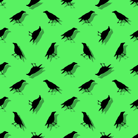 Conversational seamless pattern design with birds silhouette graphic motif in green and black colors