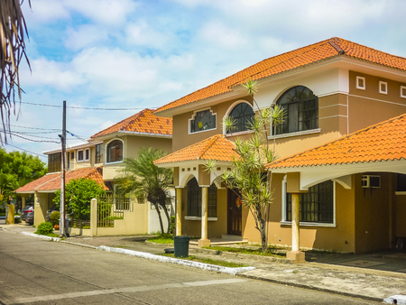 Perspective exterior view of high class neighborhood houses at samborondon district, Ecuador Stock Photo