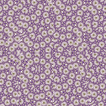 Digital photo collage and manipulation technique nature ditsy floral collage motif seamless pattern design in violet and yellow tones.