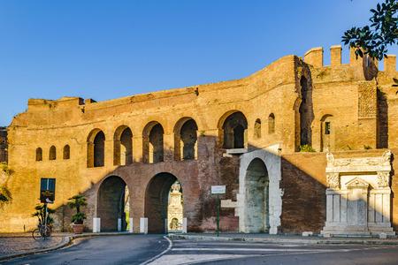 Exterior view of porta pinciana at veneto via street, Rome, Italy 写真素材