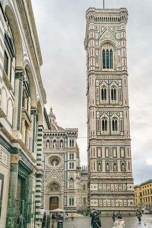 FLORENCE, ITALY, JANUARY - 2018 - Famous santa maria dei fiore cathedral and campanile di giotto in Florence, Italy