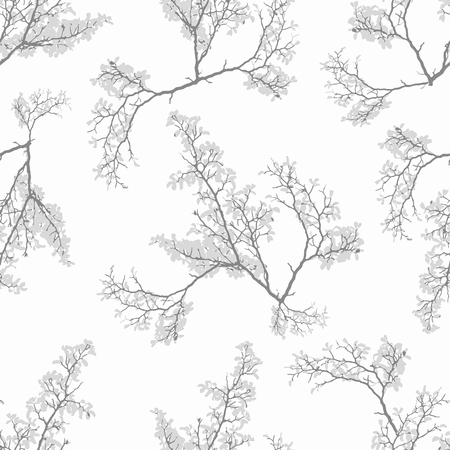 Digital photo collage and manipulation technique botanical motif nature collage seamless pattern in mixed grey and white colors