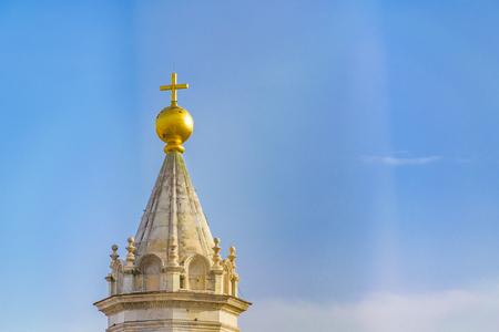 Santa maria del fiore cathedral lantern against blue sky background