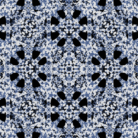 Digital art technique geometric oriental ornate seamless pattern design in blue and yellow colors against black Ilustração