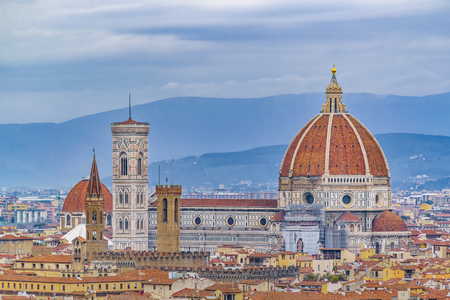 Aerial view of famous santa maria del fiore cathedral at historic center of florence city, Italy 스톡 콘텐츠