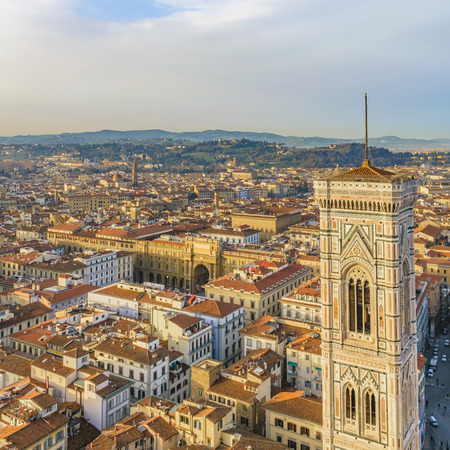 Aerial cityscape view of florence city with campanile building as main subject Reklamní fotografie