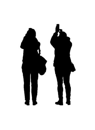 Back view isolated graphic silhouette of two adult women taking photos Standard-Bild - 104774174