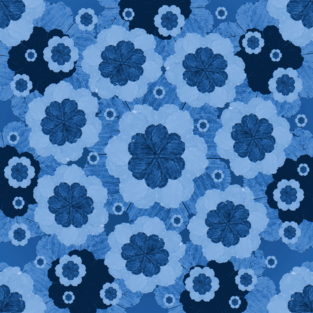 Digital collage technique simple fel tip style floral seamless pattern design motif in indigo colors.
