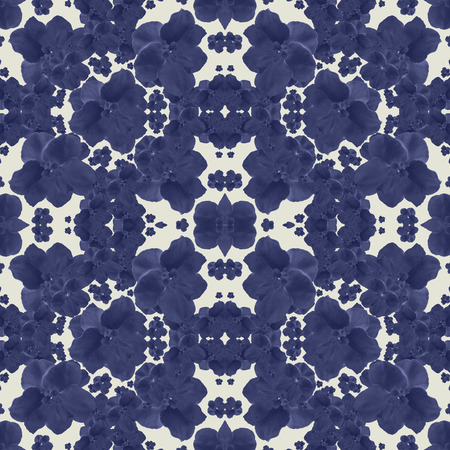 Digital collage technique felt tip style stylized floral motif seamless pattern design in indigo and white colors.