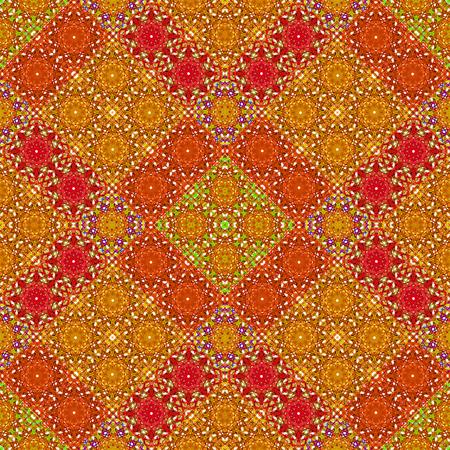 Digital art technique complex abstract ornate check seamless pattern design in multicolored tones Stok Fotoğraf
