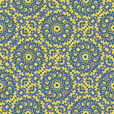Digital collage technique modern ornate baroque seamless pattern design in yellow and blue colors Banco de Imagens