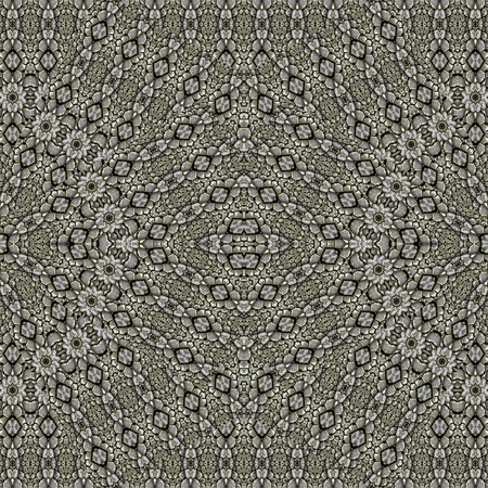 Digital art style technique modern oriental geometric check ornate abstract seamless pattern design in silver tones.