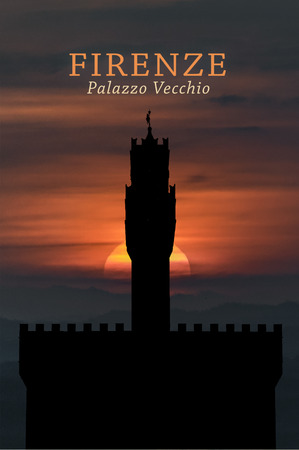 Low angle view of famous palazzo vecchio building in Florence, Italy Banco de Imagens