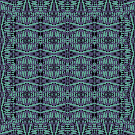 Digital abstract geometric seamless pattern design in vibrant purple and cyan colors
