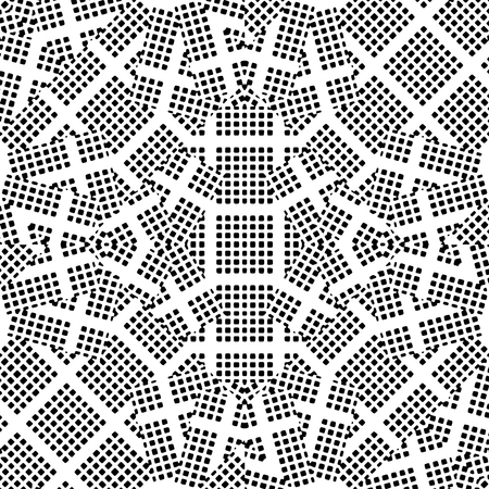 Digital abstract geometric intricate seamless pattern design in black and white colors