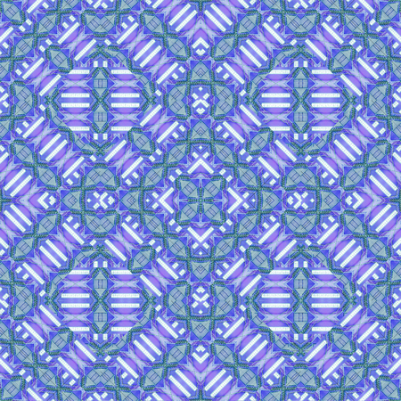 Digital abstract modern geometric seamless pattern design in bleu and white colors Banco de Imagens
