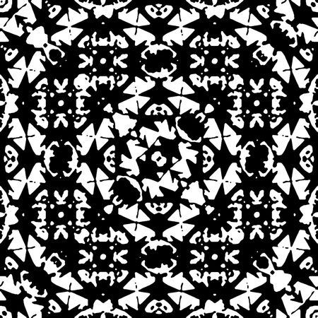 Digital abstract geometric islamic style seamless pattern design in black and white colors Banco de Imagens