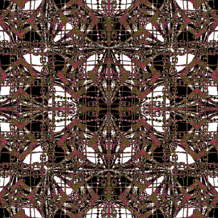 Digital art collage technique geometric ornate decorative abstrac embroidery pattern design in mixed colors and grunge texture.