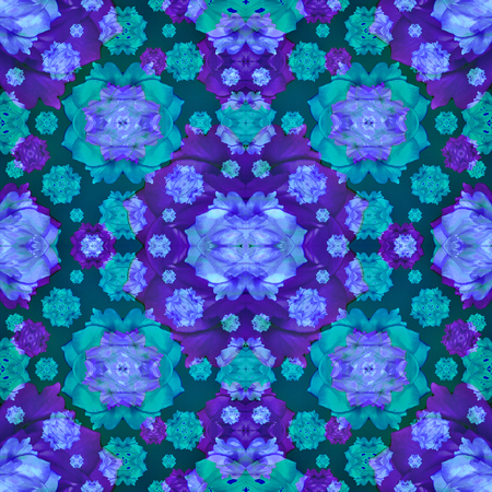 Digital collage and manipulation technique modern geometric floral seamless pattern in mixed colors. Stock Photo