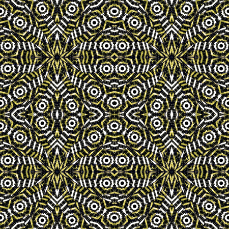 Digital abstract geometric seamless pattern background design in black and yellow colors Banco de Imagens
