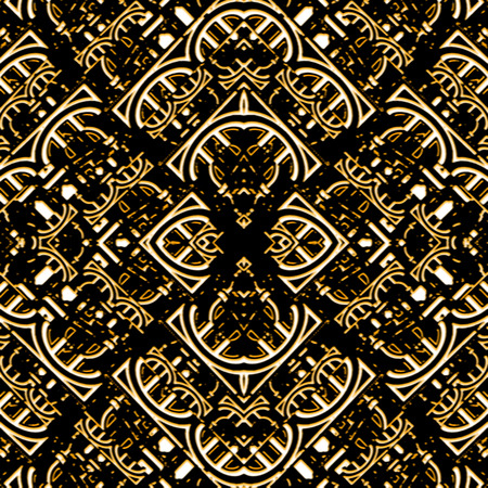 Digital collage technique ornate seamless pattern design in brown and black colors