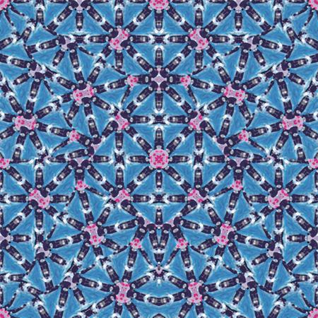 Digital art technique modern ornate seamless pattern design in blue colors