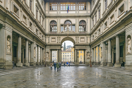 FLORENCE, ITALY, JANUARY - 2018 - Exterior view of famous uffizi gallery at florence city, Italy Sajtókép