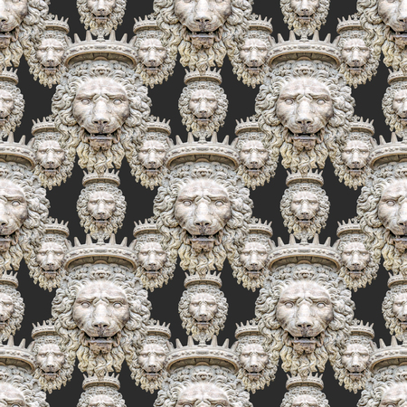 Conversational seamless pattern design with stone lion medallon collage motif in grey colors