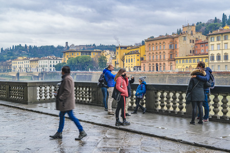FLORENCE, ITALY, JANUARY - 2018 - Historic center cityscape of florence with arno riverfront buildings as main subject