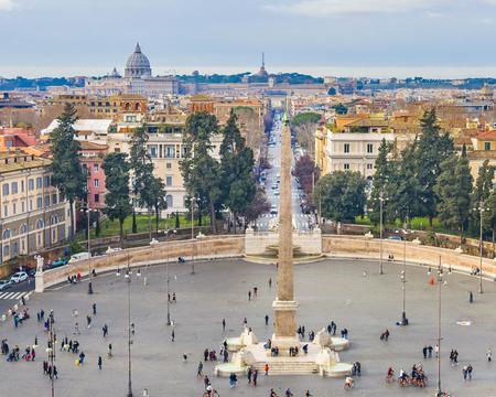 Urban day winter season scene at famous piazza del popolo in Rome city, Italy