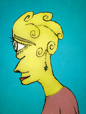 Young woman with sad or melancholic expression side view portriat colored drawing
